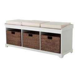 Entryway Bench With 3 Baskets/Cushions, White - This is probably the most practical and the most common shoe bench. I think it could be jazzed up with a new single cushion in a fun fabric across the top.