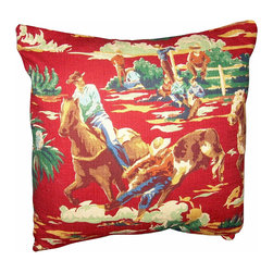 "Mid Century Home USA - Mid Century Western Pillow Cover Barkcloth Cowboys Wild West, Red Backgound with - This pillow was freshly made using a very unique 1940's barkcloth fabric.  The design is ""Rid'em Cowboy"" complete with cowboy& bronko in a rodeo scene.  The fabric was unused and is very nice.  The back of the pillow is nlack duck cloth canvas with an envelope closure.  The seams are professionally serged to prevent fraying.  The pillow insert is NOT included.  The pillow is 17"" X 17"", use a 18"" insert to ensure a very plump pillow.  There are 2 available and in red with black back as well."