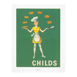 "Cool Culinaria - Waitress Juggling Pancakes: Childs (1951) Vintage Menu Art Print, 16x20"" - Cool Culinaria Ultimate Giclee Prints on 300-315 GSM archival art paper"