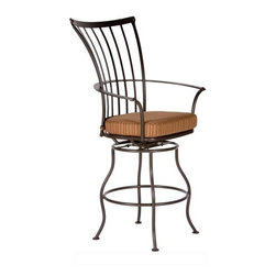 O.W. Lee Monterra Wrought Iron Swivel Counter Stool - A gorgeous, contemporary addition to any patio or deck, the O.W. Lee Monterra Swivel Counter Stool has clean, simple lines and a modern curve design to the arms that makes this counter stool truly elegant. Made from handcrafted wrought iron, this stool has hammered rivets at key intersections and embossed flat bars which envelope the cushioning of the chair. Designed for comfort, you'll love lounging with some friends while you enjoy a glass of wine and winding down from a busy day. This counter stool includes your choice of Sunbrella cushions so you can easily complement your outdoor area. Sunbrella cushions are fade-, stain-, mildew-, and water-resistant, easy to clean with mild soap and water, and include a five year warranty against fading. The swivel design of this counter stool makes it easy to get in and out of, as well as making it easier to carry on a conversation. Please note: This item is not intended for commercial use. Warranty applies to residential use only.Materials and construction:Only the highest quality materials are used in the production of O.W. Lee Company's furniture. Carbon steel, galvanized steel and 6061 alloy aluminum is meticulously chosen for superior strength as well as rust and corrosion resistance. All materials are individually measured and precision cut to ensure a smooth and accurate fit. Steel and aluminum pieces are bent into perfect shapes, then hand-forged with a hammer and anvil, a process unchanged since blacksmiths in the middle ages.For the optimum strength of each piece, a full-circumference weld is applied wherever metal components intersect. This type of weld works to eliminate the possibility of moisture making its way into tube interiors or in a crevasse. The full-circumference weld guards against rust and corrosion. Finally, all welds are ground and sanded to create a seamless transition from one component to another.Each frame is blasted with tiny steel particles to remove dirt and oil from the manufacturing process, which is then followed by a 5-step wash and chemical treatment, resulting in the best possible surface for the final finish. A hand-applied zinc-rich epoxy primer is used to create a protective undercoat against oxidation. This prohibits rust from spreading and helps protect the final finish. Finally, a durable polyurethane top coating is hand-applied, and oven-cured to ensure a long lasting finish.About SunbrellaSunbrella has been the leader in performance fabrics for over 45 years. Impeccable quality, sophisticated styling and best-in-class warranties prove the new generation of Sunbrella offers more possibilities than ever. Sunbrella fabrics are breathable and water-repellant. If kept dry, they will not support the growth of mildew as natural fibers will. Beautiful and durable, Sunbrella is a name you can trust in your outdoor furniture.Cleaning and Caring for SunbrellaRegular maintenance is the best way to keep your Sunbrella fabrics looking good and delay deep, vigorous cleaning. Brush off dirt before it becomes embedded in the fabrics, and wipe up spills as soon as they occur. For light cleaning, use a mild soap and water solution and a sponge, allowing your cleaning solution to soak into the fabric. Rinse thoroughly to remove all soap residue and allow fabric to air dry.About O.W. Lee CompanyAn American family tradition, O.W. Lee Company has been dedicated to the design and production of fine, handcrafted casual furniture for over 60 years. From their manufacturing facility in Ontario, California, the O.W. Lee artisans combine centuries-old techniques with state-of-the-art equipment to produce beautiful casual furniture. What started in 1947 as a wrought-iron gate manufacturer for the luxurious estates of Southern California has evolved, three generations later, into a well-known and reputable manufacturer in the ever-growing casual furniture industry.
