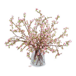 New Growth Designs - Quince Bouquet - Delicate yet dramatic, these flowering quince branches make a striking statement in your favorite setting. Even better, the lush bouquet will last forever. Silk blossoms so lifelike and lovely, everyone will think you cut them from your garden this morning.
