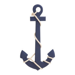 """Benzara - Navy Blue Color Palette Attractive Wood Rope Wall Anchor - Add this wall anchor to any wall of your choice in your dwelling to cast a nautical spell. This anchor is polished in navy blue color palette and is crafted of durable wood. The wall anchor features a white rope tied. The blue finish gives it a fresh appeal. Mount it on any wall as it requires just one nail. This wall anchor would be a great addition to your dwelling space and its style makes it perfect for all types of home interiors.Apart from getting it home, you can wrap it well and present it as gift to near and dear ones. They will simply love this gift of yours and use it to decorate their dwelling wall. Kids too will be enticed to see such a beautiful wall decor. So, get set to make your dull looking wall interesting by mounting this wall anchor. This wall anchor measures 15 inches (Width) x 1 inches (D) x 27 inches (Height) ; Dark blue color palette; Sturdy wood construction ; Dimensions: 16""""L x 2""""W x 28""""H"""