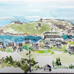 view from the lighthouse, monhegan Artwork - Monhegan Island, Maine at the end of May.