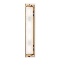 Hudson Valley Lighting - Vertical Bathroom Light with White Glass in Aged Brass Finish - 953-AGB - This unique bathroom wall light provides a bright clean illumination for all to enjoy. The transitional design features a subtle blend of modern style and historic flourishes to create a distinctive appeal. This bathroom wall light is designed to hang vertically and is perfectly sized to place over your bathroom sink or vanity. This fixture is an ideal choice when searching for a light to blend with any style of home decor. The measurements for this fixture include: a height of 30.5 inches, a width of 5 inches, a length of 30.5 inches, a depth of 4.25, with a weight of 13lbs, and a back plate dimension of 5x30.5. Takes (4) 60-watt incandescent A19 bulb(s). Bulb(s) sold separately. Damp location rated.