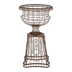 Kathy Kuo Home - French Country Curved Base Wire Frame Planter - Inspired by the great gardens of France, the French Wire collection is hand bent, twisted and assembled by welding every individual joint and hand tying depending on the style. Each piece is then powder coated for durability and hand finished lending to the aged feel.