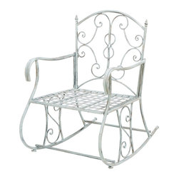 Woodland Imports - Metal Chair Silver Curled Accents Patio Porch Garden Furniture Decor 68798 - Conventional and modern metal chair with a silver finish and curled accents patio, porch, and garden furniture decor