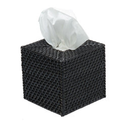 Kouboo - Square Rattan Tissue Box Cover in Black - Gesundheit! Keep a box of tissue within reach and under cover. This box is woven by hand of rattan and looks perfectly comfortable just about anywhere you set it like the bath, den or home office.