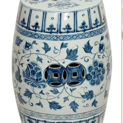 Asian Ceramic Garden Stool - Garden stools are one of the most versatile items for the home.  This blue and white stool will hold your coffee beside your favorite chair or will provide extra seating in a sunroom or out on the porch.