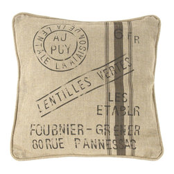 """Kathy Kuo Home - French Country Farm Stand """"Lentilles Vertes"""" Throw Pillow - With a nod to the rustic country sacks used to carry grains and vegetables, this linen French pillow is printed with the words """"Lentilles Vertes,"""" or """"green lentils."""" Use as a vintage accent in your industrial loft or for a touch of international flair within your country cottage living space."""