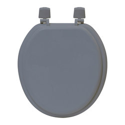 """Evideco - Round Molded Wood Toilet Seat Solid color, Gray - This round molded wood toilet seat with a beveled edge and durable multi-coat enamel finish features four matching plastic bumpers and easy-to-install, dial-on hinges for a secure and wobble-free fit. Assembly instructions are supplied. Clean with warm soapy water.Length 15.5-Inch (max 17.5-Inch when using the adjustables hinges) and width 14.25-Inch. Imported.This round toilet seat is in medium-density fiberboard (MDF) and fits all manufacturers' round toilet bowls and gives a decorative touch to your bathroom! CHECK CAREFULLY THE SIZE NEEDED , this toilet seat is 15.5""""L X 14.25""""W."""