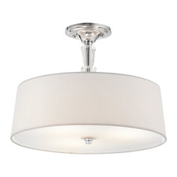 KICHLER - KICHLER Crystal Persuasion Transitional Semi-Flush Mount Ceiling Light X-HC53024 - From the Crystal Persuasion Collection, this Kichler Lighting semi flush mount ceiling light features a clean Chrome finish and crystal accents that compliment the modern drum shade, made from a white linen fabric and satin etched glass diffuser.