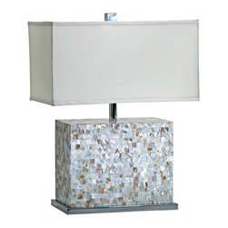 "Cyan Design - Contemporary Shell Tile Mother of Pearl Tile Table Lamp - Bring some sleek modern style to your decor with this mother of pearl tile table lamp. Rectangle of glowing tiles does wonderful things with light controlled by the dimmer. The square shade and polished chrome base keep things crisp and clean. Great for contemporary classic or transitional decor. Mother of pearl tile table lamp. White and polished chrome finish. Rectangular white fabric shade. Dimmer switch. Takes one maximum 150 watt or equivalent bulb (not included). 25"" high. Shade is 13"" wide 19"" long and 10 1/4"" high.  Mother of pearl tile table lamp.  White and polished chrome finish.  Rectangular white fabric shade.  Dimmer switch.  Takes one maximum 150 watt or equivalent bulb (not included).  25"" high.  Shade is 13"" deep 19"" wide and 10 1/4"" high."