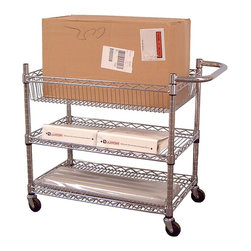 Luxor Furniture - Large Wire Tub Cart in Nickel - Includes four 3 in. casters. Two casters with locking brake. Non-marring bumpers to protect walls. Three shelves. Lightweight. Easy to handle. One 3.5 and two 1 in. deep tub shelves. Made from chrome plated steel. 30 in. L x 18 in. W x 30 in. H. Warranty. Assembly Instructions