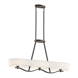 Kichler Lighting - Kichler 42451 3 Light Mini Chandelier - With light beige fabric shades and light umber etched diffusers, each piece in the Glissade Collection seems to glide across the ceiling.