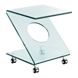 Z Side Table - The imaginary collides with the outward beauty of the sleek Rolling Z side table. Sit comfortably as a modern vector force hovers ready for universal expansion. Slide from the realm of possibly to reality with this confident and eye-catching accent piece.