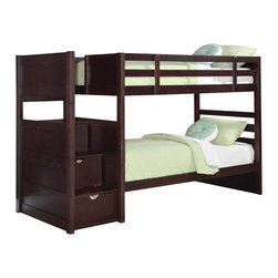 Coaster - Coaster Elliott Twin over Twin Bunk Bed - Coaster - Bunk Beds - 460441 - Designed to save space this twin over twin bunk bed is a perfect solution for your childrens bedroom. The piece carries a rich cappuccino finish and offers durability as well as a relaxed style. The full-length guard rails provide safety while the included ladder allows for easy access to the top bunk. Plus the staircase features three drawers for additional storage and convenience. Give your youth's bedroom plenty of function and fashion with this bunk bed.