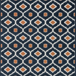 "Loloi Rugs - Loloi Rugs Oasis Collection - Navy / Orange, 7'-10"" x 10'-9"" - Boldly designed and brightly colored, our Oasis Collection transforms any outdoor space into a modern patio paradise. This collection is power loomed in Egypt, ensuring precision in color and design for each and every piece. And because the 100% polypropylene yarns are specially tested to withstand UV rays and rain, it's the perfect all-weather rug."