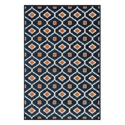 """Loloi Rugs - Loloi Rugs Oasis Collection - Navy / Orange, 5'-2"""" x 7'-5"""" - Boldly designed and brightly colored, our Oasis Collection transforms any outdoor space into a modern patio paradise. This collection is power loomed in Egypt, ensuring precision in color and design for each and every piece. And because the 100% polypropylene yarns are specially tested to withstand UV rays and rain, it's the perfect all-weather rug."""