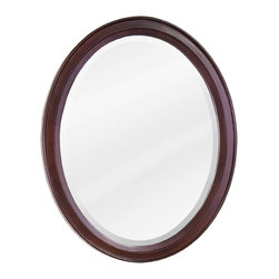 Hardware Resources - Mahogany Modern Jeffrey Alexander Mirror 22 x 27-1/4 - 22 x 27 1/4 Mahogany oval mirror with beveled glass