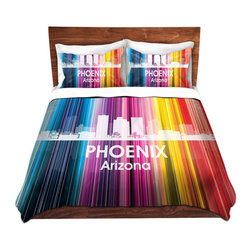 DiaNoche Designs - Duvet Cover Microfiber King-DiaNoche Designs-Angelina Vick-City II Phoenix - DiaNoche Designs works with artists from around the world to bring unique, artistic products to decorate all aspects of your home.  Super lightweight and extremely soft Premium Microfiber Duvet Cover (only) in sizes Twin, Queen, King.  Shams NOT included.  This duvet is designed to wash upon arrival for maximum softness.   Each duvet starts by looming the fabric and cutting to the size ordered.  The Image is printed and your Duvet Cover is meticulously sewn together with ties in each corner and a hidden zip closure.  All in the USA!!  Poly microfiber top and underside.  Dye Sublimation printing permanently adheres the ink to the material for long life and durability.  Machine Washable cold with light detergent and dry on low.  Product may vary slightly from image.  Shams not included.