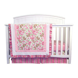 """Trend Lab - Paisley Park - 3 Piece Crib Bedding Set - Trend Lab's Paisley Park 3 Piece Crib Bedding Set is sweetly sophisticated and ultra-feminine! The paisley print in hot pink, bubblegum pink and fuchsia combined with sage and moss green is paired with a sweet multi-colored stripe, crisp white mini-waffle pique and soft pink ultrasuede. Ruffled edges on the quilt bring a sweet detailed accent to the collection. This group's spin on traditional colors will bring a girly fashionable flair to your nursery! Set includes quilt, crib sheet and skirt. The quilt measures 35"""" x 45"""" and features a paisley print in hot pink, bubblegum pink and fuchsia mixed with sage and moss green on a white background. Pink ultrasuede and white mini-waffle pique frame the paisley print adding textured detail. A ruffled stripe print along the edge in hot pink, bubblegum pink, fuchsia, sage and white provide the finishing touch!. Bubblegum pink crib sheet features 10"""" deep pockets and fits a standard 52"""" x 28"""" crib mattress. Elastic around the entire opening ensures a more secure fit. Box pleat skirt with 15"""" drop features horizontal strips of the paisley and stripe prints in hot pink, bubblegum pink, fuchsia, moss green, sage and white. A pink ultrasuede strip separates the two patterns. Matching Paisley Park Crib Bumpers sold separately. Complete your nursery with coordinating room accessories from the Paisley Park collection by Trend Lab."""