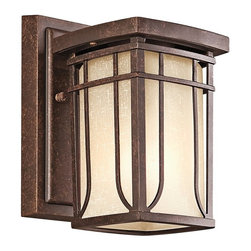 KICHLER - KICHLER 49146AGZ Riverbank Arts and Crafts/Mission Outdoor Wall Sconce - The updated transitional feel of the Riverbank collection fits perfectly with the different exteriors of many home styles. A square frame finished in Aged Bronze is wrapped in White linen mist glass. The rounded trim gives the illusion of a gentle bow.