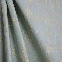 Tros Mist Plaid Fabric By The Yard - A blue green plaid fabric with a hint of tan running through it. Tros in the color mist is closed out and is a perfect weight for draperies, bedding, pillows and light upholstery.