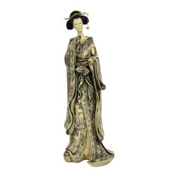"""Oriental Unlimted - 17 in. Tall Geisha Figurine w Small Bow Kimon - Outstanding, fine quality Japanese style decorative artwork. High quality Asian style decorative art statue. A hand detailed reproduction of a strikingly tall Japanese geisha figurine. Striking large size design, just under a foot and a half tall. Hand painted hair cast in a classic """"shimada"""" (hairstyle), with distinctive, traditional """"kanzashi"""" (hair pins and combs). Beautiful hand carved detail on small bow kimono. Wonderfully elaborate hairstyle, hairpins and comb. Crafted from lovely ivory colored resin. 7.5 in. W x 6 in. D x 17 in. HOriental art and decor provide an interesting and exotic element to contemporary American eclectic interior design. Browse among our fine resin castings including geishas, Buddhas, Hotei, Kwan Yin, Lao Tzu, Tang horses, foo dogs and more, for unique and interesting Asian style accents and decorations."""