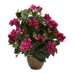 Nearly Natural - Bougainvillea w/Ceramic Vase - Here's a touch of class that will bring warm feelings and smiles for years. This lush, lovely Bougainvillea captures the perfection that only nature can provide, and brings it home to you. With verdant green leaves and delicate yet striking blooms, this wonderful Bougainvillea will stay beautiful without a drop of water. Comes with a decorative ceramic vase, and makes a great gift.