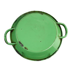 EuroLux Home - Consigned Antique French Green Enamel Skillet - Product Details