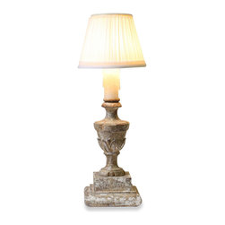 Aidan Gray - Aidan Gray Lucette Lamp Set of 2 L174 - A small lamp made to resemble a wooden urn with a pleated shade will light up the smallest spaces of your home.