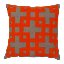 #N/A - New Swiss Pillow in Red - New Swiss Pillow in Red. Add style and sophistication to any room with this modern pillow. This pillow has a polyester fill and zipper closure. Made in India with one hundred percent cotton, this pillow is durable and priced right.