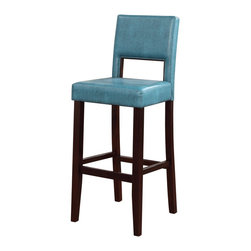 "Linon Home Decor - Linon Home Decor Vega Bar Stool Agean Blue X-U10ULB45041 - The 30"" Vega Bar Stool features a sleek black finish. Great for homes with dark accents, this stool has a padded Agean Blue PU seat and back, providing the perfect pop of color for any space. The legs are slightly tapered for a more elegant look, while the four foot rails provide stability and comfort. This stool is durable enough for a busy kitchen, yet elegant enough for a more formal setting. 275 pound weight limit."