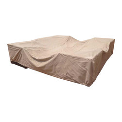 """Dola - Outdoor Patio Furniture Cover, Tan, 126"""" X 126"""" - Protect the outdoor furniture that you love with this durable outdoor patio furniture cover. This strong heavy duty, high end PU coated polyester cover is versatile and is ideal for most sectionals, dining sets and conversation sets under 10' 6"""" square. It will protect your furniture from UV rays, dirt and rain so your patio furniture will always be ready for use! This patio furniture cover comes in an attractive tan color and measures  10' 6"""" x 10' 6"""" Square x 28""""."""