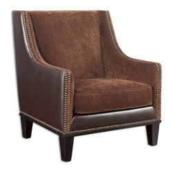 Uttermost - Plush Derek Rustic Faux Leather Armchair - This  plush  rustic  armchair  is  upholstered  in  several  coordinating  fabrics  to  maximize  tactile  details  and  aesthetics.  Saddle  brown  faux  leather  and  plush  chestnut  fabric  cover  the  chair,  accented  with  a  double  row  of  rustic  nail  heads.  Legs  are  stained  a  rich  walnut.  Seat  cushion  is  removable.  Fabric  is  sculpted  into  swirl  pattern.  Light  assembly  required  to  attach  legs.