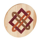 Kentucky Cutting Boards - Round Maple Cutting Board with Celtic Square Knot - Chop your veggies in style with this made in the USA round maple cutting board embellished with a Celtic square knot inlay. Made of maple, cherry and walnut, the fine craftsmanship will enhance your top chef tendencies.
