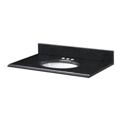 "Pegasus - Pegasus 25"" Vanity Top with White Bowl and 4 Faucet Spread Holes, Black (25194) - Pegasus 25194 25"" Vanity Top with White Bowl and 4"" Faucet Spread Holes, Black"