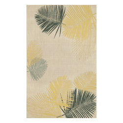 "Trans-Ocean - Palms Yellow 4'11"" x 7'6"" Indoor/Outdoor Flatweave Rug - Casual and Simple pattern combined with beautifully blended yarns in modern colors make this Machine Made rug rise above the rest. Wilton Woven in Turkey of 100% Polypropylene and UV stabilized for Indoor or Outdoor use. A loose weave of Polypropylene creates the look of natural fibers but is easy to care for."