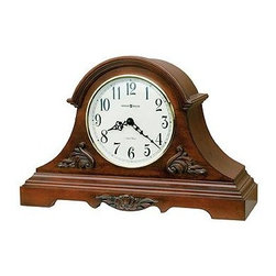 HOWARD MILLER - Howard Miller Sheldon Dual Chime Tambour Mantel Clock - This lightly distressed mantel clock is embellished with elegant details.