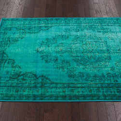 Winsdor Overdyed Grove Turquoise Rug - An over-dyed look, this rug would be so beautiful paired with sunshine yellow — especially in a kid's playroom.