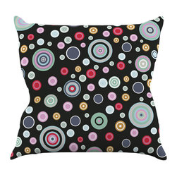 """Kess InHouse - Suzanne Carter """"Circle Circle II"""" Black Multicolor Throw Pillow (18"""" x 18"""") - Rest among the art you love. Transform your hang out room into a hip gallery, that's also comfortable. With this pillow you can create an environment that reflects your unique style. It's amazing what a throw pillow can do to complete a room. (Kess InHouse is not responsible for pillow fighting that may occur as the result of creative stimulation)."""
