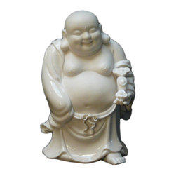 "Golden Lotus - Chinese White Porcelain Happy Buddha Statue - Dimensions:   5"" x 5""x  h8"""