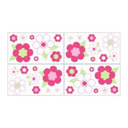 Sweet Jojo Designs - Sweet Jojo Designs Flower Wall Decals in Pink/Green - Flower power for your sweet girl's room. These Sweet Jojo Designs Pink and Green Flower Wall Decals will add a fun and colorful touch to any bedroom or nursery. The set includes 4 sheets of removable and repositionable decals.