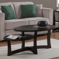 None - Eclipse Espresso Tiered Coffee Table - The modern,one-of-a-kind Eclipse coffee table features a rich espresso finish,making it a must have for any contemporary interior setting. Its clear glass and tiered level design complete the look of this elegant piece.