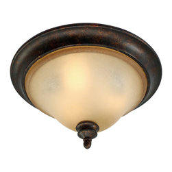 Golden Lighting - Portland Flushmount Light - Make a point with this flushmount light. Gold accents warm the antique fired finish, while hand painted birch glass illumines. It's a vision of beauty in any room.