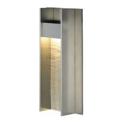 LBL Lighting - LBL Lighting | Tav 14 Outdoor Wall Light - Design by LBL Lighting.The Tav Collection from LBL Lighting features a metal frame washed with brilliant LED light in 120V or 277V. The Tav 14 Outdoor Wall Light is available alone or with an optional stone insert. Provides ambient downlight. Offered in bronze, gunmetal, or stone and gunmetal. Dimmable with a low-voltage electronic dimmer. Suitable for wet locations.Shown in gunmetal with stone insert.