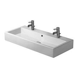 "Duravit - Duravit 04541000241 White / 2 Faucet Hole Vero 39-3/8"" Wide Lavatory - When using this siphon please observe outlet height from upper surface of finished floor to centre of outlet in accordance with the technical specification sheet ** Required in conjunction with wall-mounted tap fitting and consoles with a maximum thickness of 30 mm, For fixing the ceramic, 2 sets of washbasin fixations are required, with overflow, 1000 mm"