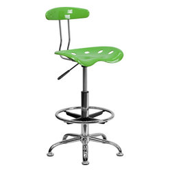"""Flash Furniture - Vibrant Spicy Lime and Chrome Drafting Stool with Tractor Seat - Quality chair at an amazingly affordable price! This sleek, modern stool conforms to several areas in the home or office. The molded tractor seat offers great comfort. The height adjustable capability of this stool allows you to use the stool at the dining table and bar table and anywhere in between. Tractor Stool; Spicy Lime Molded """"Tractor"""" Seat; High Density Polymer Construction; 10"""" Height Range Adjustment; Pneumatic Seat Height Adjustment; Height Adjustable Chrome Foot Ring; Chrome Frame and Base; Black Plastic Floor Glides; Designed for Residential Use; Overall dimensions: 17""""W x 16.5""""D x 32"""" - 40.5""""H"""