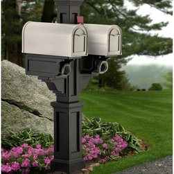 Mayne - Mayne Rockport Double Mail Post - 5811-B - Shop for Mailboxes and Accessories from Hayneedle.com! Team up with a neighbor or stylishly outfit a double residence with the Mayne Rockport Double Mail Post. This American New England-style plastic post double cover goes over a standard 4- x 4-inch post to create attractive space for 2 mailboxes. It's built from molded heavy-duty polyethylene with UV inhibitors to protect your choice of color and includes a large decorative post and dual side-mounted mailbox support arms with built-in paper holders. Medium mailboxes are recommended at least 6.5 inches wide and weighing less than 8 lbs each. Use a 4- x 4-inch post at least 84 inches high.About MayneMayne products Outdoor Products of Distinction a distinction they back up by delivering consistently attractive and functional accents for both front and back yards. Heavy-duty molded poly construction gives their products the durability they need to make it outdoors and UV-treated coloring processes provide a wealth of neutral options that fit your style. They take design cues from classic East Coast style so your outdoor Mayne products will never be out.