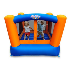 Blast Zone - Blast Zone Little Bopper Bounce House - LITTLE BOPPER BOUNCER - Shop for Tents and Playhouses from Hayneedle.com! The Blast Zone Little Bopper Bouncy House is small on size and big on fun! Perfect for compact backyards or indoor use this adorable inflatable lets your little ones bounce safely virtually anywhere. It's great for developing motor skills and coordination - not to mention tons of fun. Designed for children under the age of six the Little Bopper can accommodate one to two kids at a time. The bounce area is fully enclosed by safety netting. You can even add optional play balls to convert the space into a ball pit. Seamless floor technology and commercial-grade PVC jumping surface construction ensure that the Little Bopper lasts and lasts. Our most compact bouncer is extremely easy to set up and move. What's more it inflates in less than a minute so that the fun doesn't have to be put on hold. The Little Bopper comes complete with UL-approved blower for continuous airflow and features a 5-foot square bounce floor. Features: Overall Dimensions: 6W x 6D x 5H feet Bounce Floor: 5W x 5D feet Maximum Occupancy: 1 to 2 Maximum User Weight: 75 lbs. Recommended Ages: 3 to 6 To set up your bouncer simply unroll it. Hook the inflation tube to the blower turn the latter on and stake the inflatable down. The blower is designed to run continuously while children play. Air escapes through the seams and fabric. This bouncer is suitable for residential use. Lead-free products: A note from Blast ZoneRecent allegations by the state of California against producers and distributors of inflatable bounce products concerning illegal lead concentrations are of great concern to us and our customers. Blast Zone products are not included in these allegations. All Blast Zone products meet or exceed US and international laws and standards and contain no lead in the material printing substrate or any components whatsoever. Blast Zone diligently adheres to testing standards to ensure a safe product for the consumer and provides items retailers can be confident stocking and selling. While Blast Zone does produce commercial inflatables and Blast Zone residential products utilize a substantial amount of commercial-grade materials our commercial vinyl also meets or exceeds these same international standards for lead phthalates and other contaminants and heavy metals. Why Blast Zone?With their main focus on safety Blast zone manufactures the strongest bouncers in the industry and creates the most exciting designs available. Using 100% commercial-grade impact surfaces the material used in Blast Zone's bouncers is nine times stronger than what's used on average inflatables. Bounce floors and slides use large seamless commercial material so they have fewer seams with less chance of separation. Blast Zone bouncers are reinforced in stress areas to make them twice as durable as typical inflatables and they use X-Weave material with extremely high tensile strength in all directions. Each Blast Zone inflatable is inspected seven times during construction to ensure it meets the strictest quality and safety standards. Their safety netting is twice as thick as the industry standard and soft so it won't scratch or cut bouncers. Each Blast Zone product is designed with your child's safety in mind. They incorporate balanced product distribution safe climbing surfaces safe slide heights and more. Finally they provide breathable storage cases. Blast Zone's carrying cases allow moisture to dissipate from inflatables rather than keeping it locked inside leading to mildew. About Blast ZoneBlast Zone has been making safe toys for kids all over the world since 1996. For over a decade they've designed and manufactured compliant hazard-free toys for major licensors and retailers including Disney Warner Brothers Dreamworks Marvel Porchlight Entertainment and more. The same principles of quality and safety that have applied to their toys also apply to Blast Zone inflatables. The mission of Blast Zone inflatables is simple: provide safe fun affordable inflatables and make kids dreams come true.